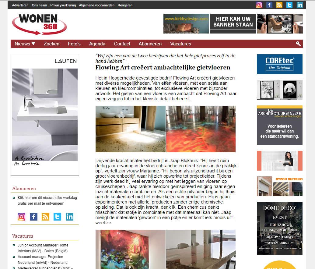Flowing Art in het online branche-medium Wonen360.nl